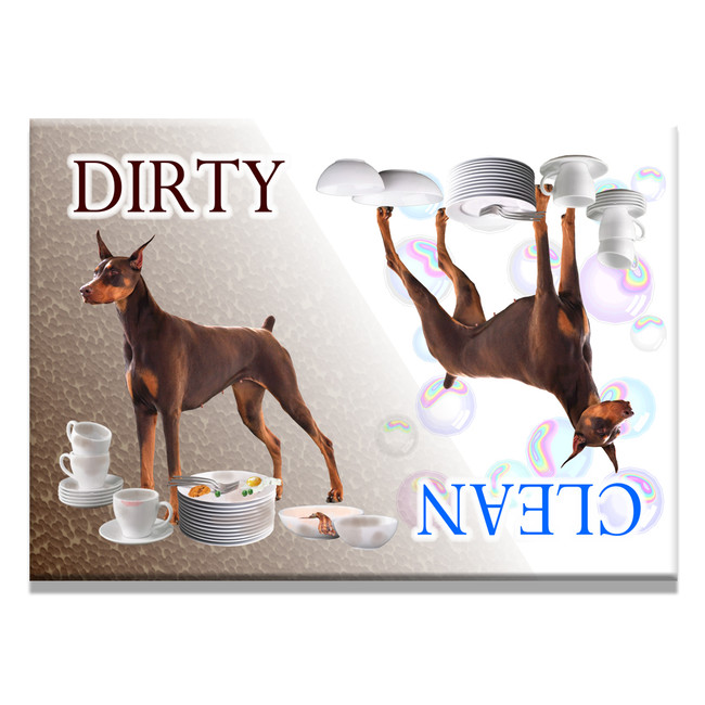 Doberman Pinscher Clean Dirty Dishwasher Magnet No 2