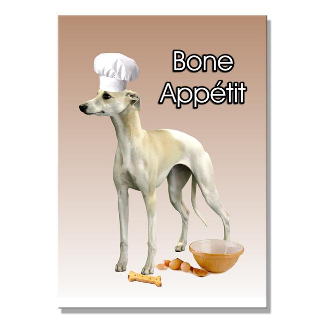 Whippet Bone Appetit Chef Fridge Magnet