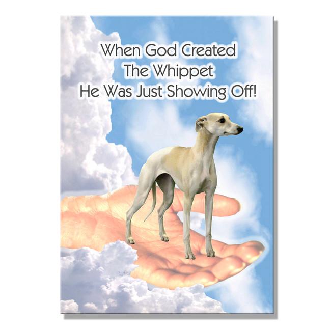 Whippet God Showing Off Fridge Magnet
