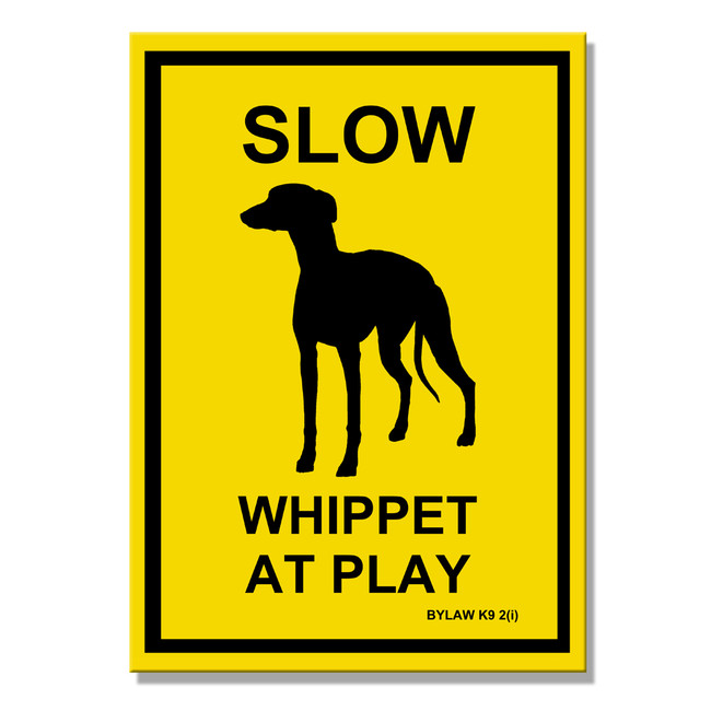Whippet Slow at Play Fridge Magnet
