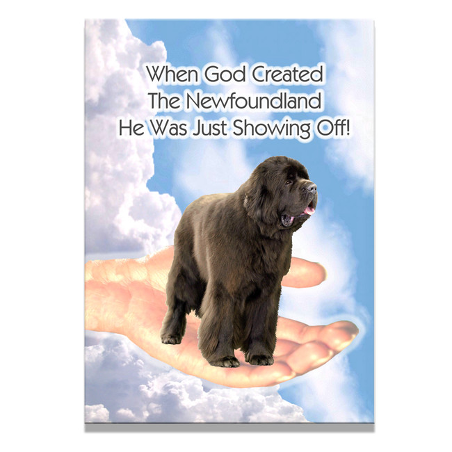 Newfoundland God Showing Off Fridge Magnet No 1