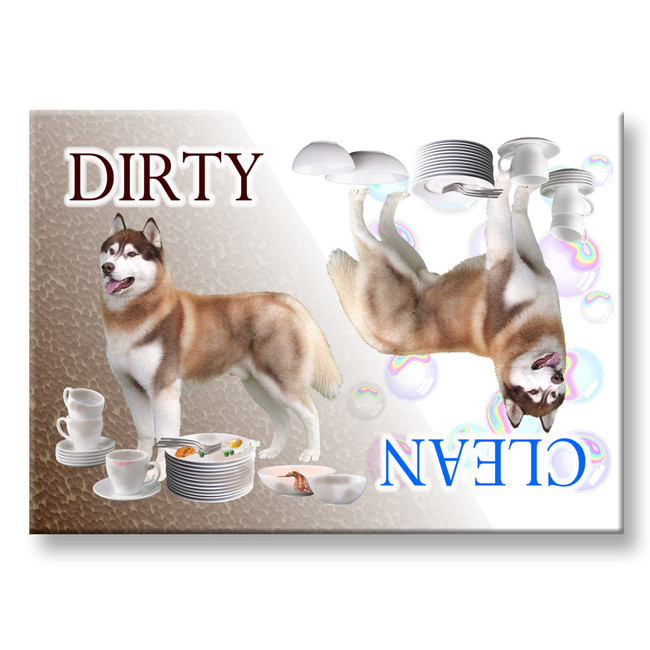 Siberian Husky Clean Dirty Dishwasher Magnet No 2