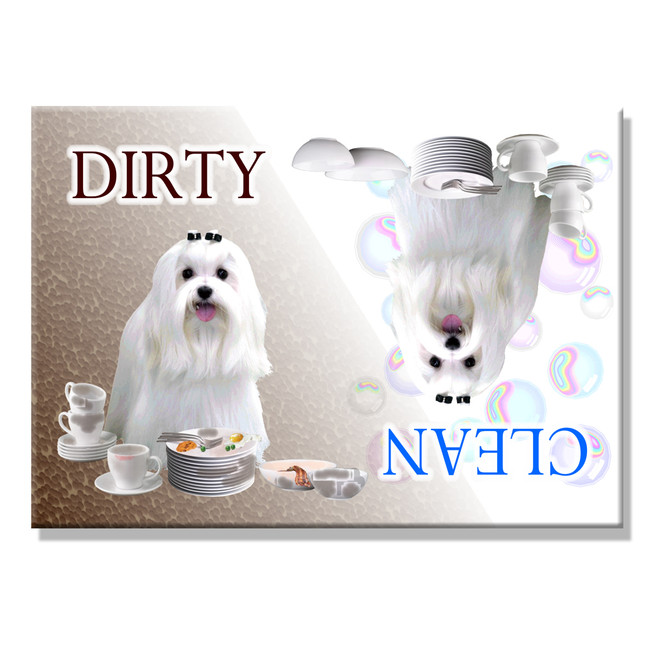 Maltese Clean Dirty Dishwasher Magnet