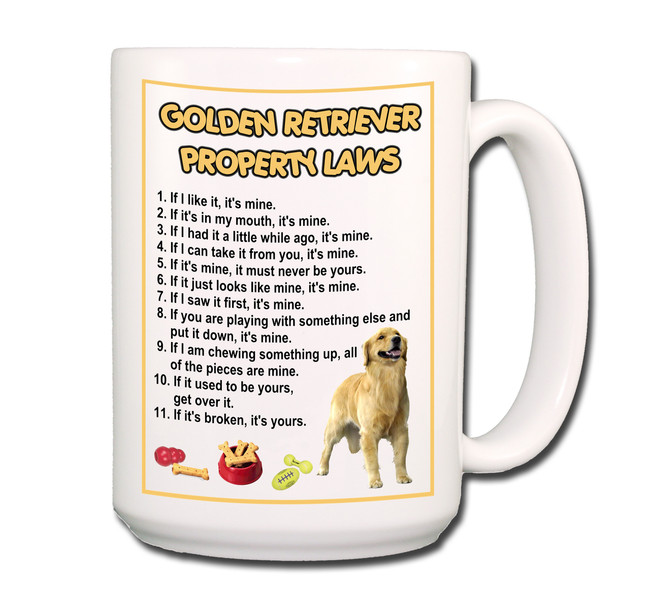 Golden Retriever Property Laws Coffee Tea Mug 15 oz