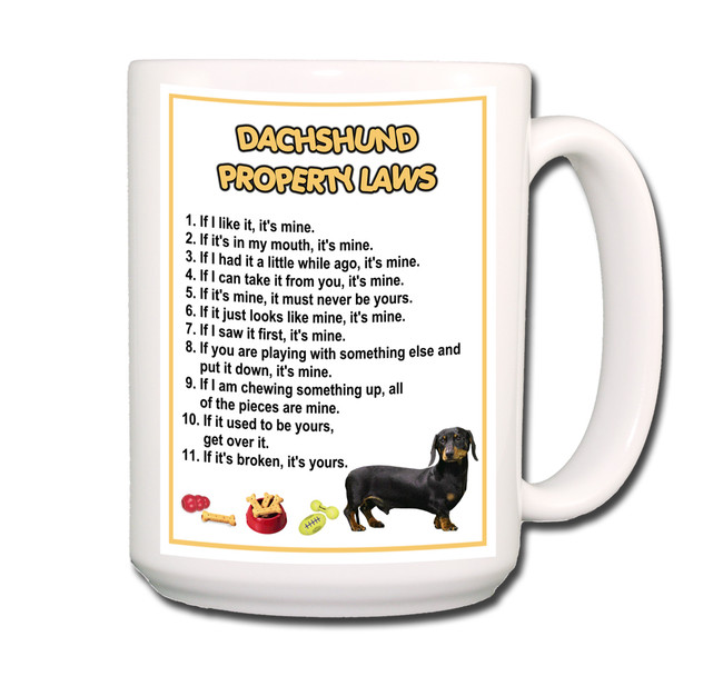 Dachshund Property Laws Coffee Tea Mug 15oz No 2