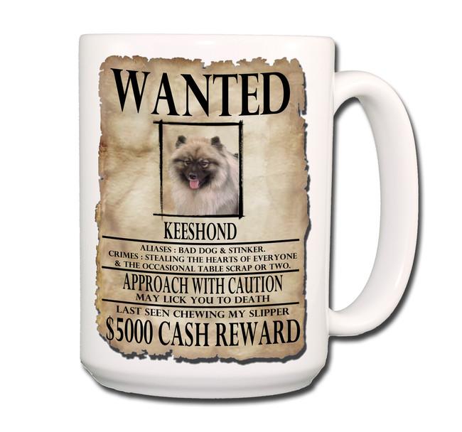 Keeshond Wanted Poster Coffee Tea Mug 15 oz