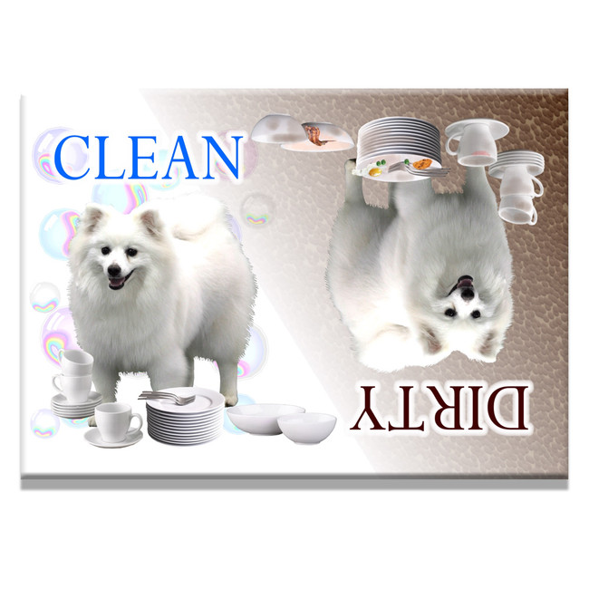 American Eskimo Clean Dirty Dishwasher Magnet