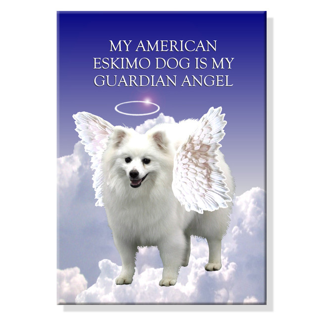 American Eskimo Dog Guardian Angel Fridge Magnet