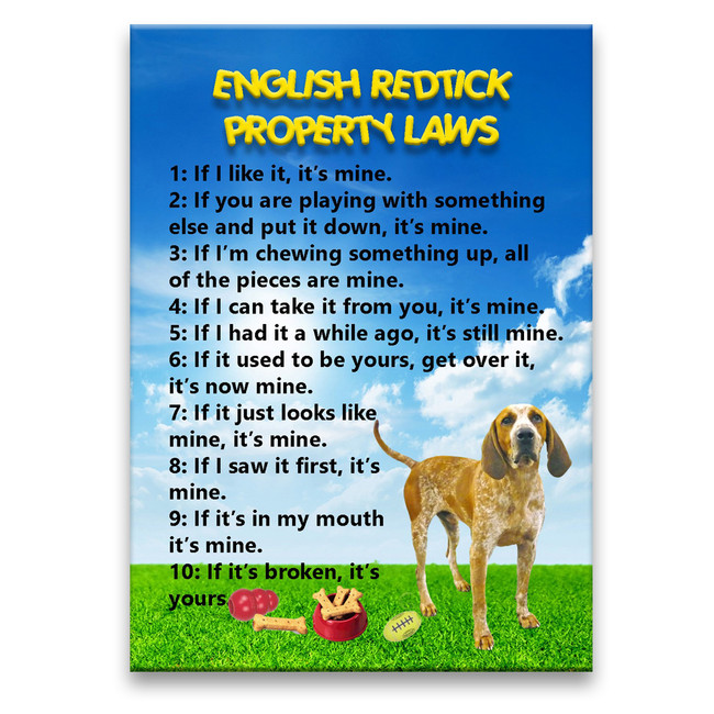 English Redtick Coonhound Property Laws Fridge Magnet