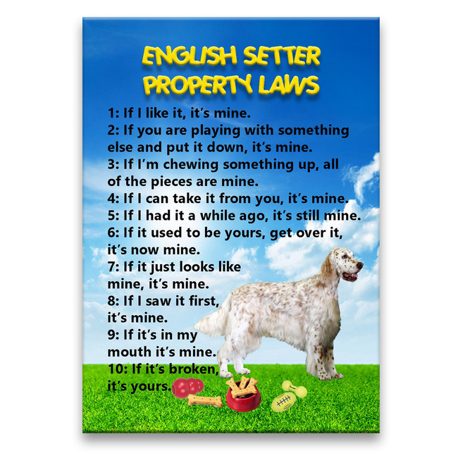 English Setter Property Laws Fridge Magnet