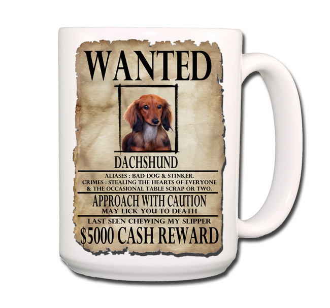 Dachshund Wanted Poster Coffee Tea Mug 15oz No 4