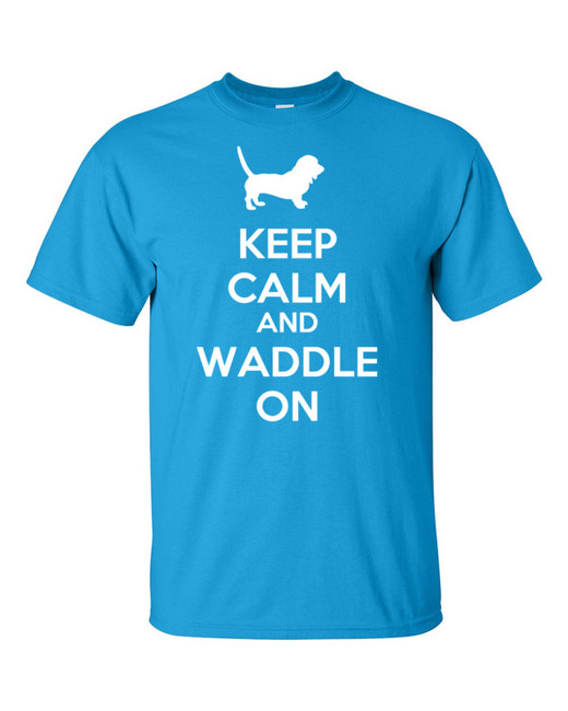 Basset Hound Keep Calm and Waddle On Cotton Mens T-Shirt
