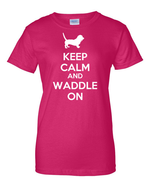 Basset Hound Keep Calm and Waddle On Cotton Womens T-Shirt