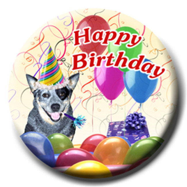 Australian Cattle Dog Happy Birthday Pin Badge