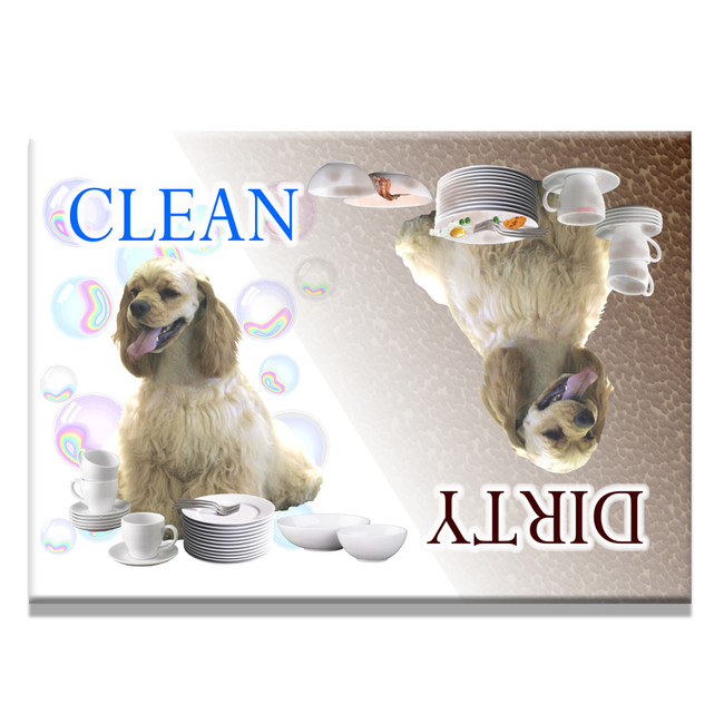 American Cocker Spaniel Clean Dirty Dishwasher Magnet No 1
