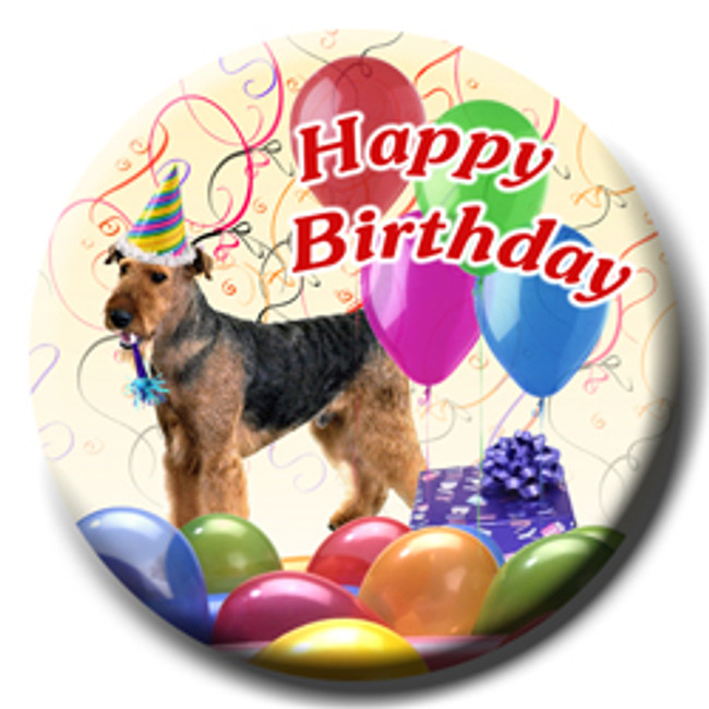 Airedale Terrier Happy Birthday Pin Badge