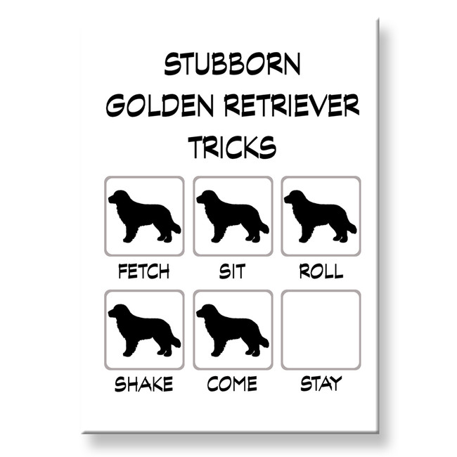 Golden Retriever Stubborn Tricks Fridge Magnet