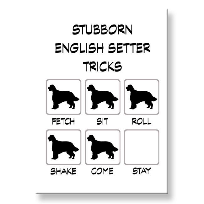 English Setter Stubborn Tricks Fridge Magnet