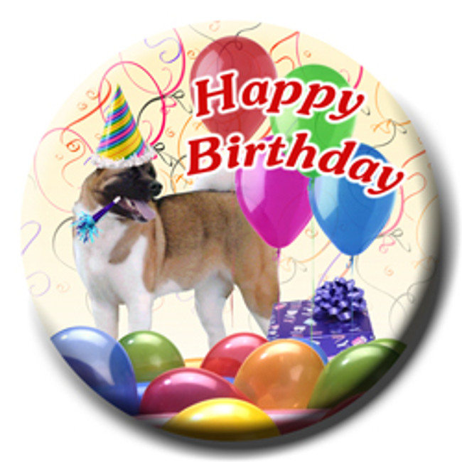 Akita Happy Birthday Pin Badge
