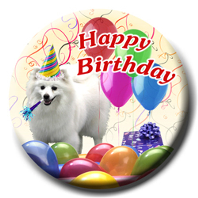 American Eskimo Dog Happy Birthday Pin Badge