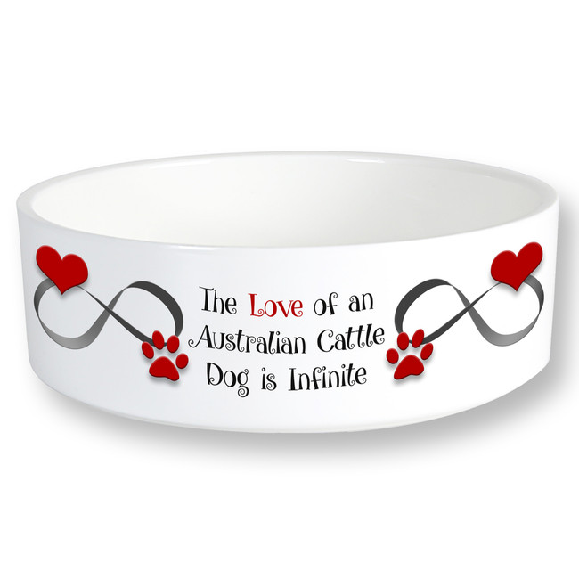 Australian Cattle Dog Infinite Love 6 inch Diameter Ceramic Dog Bowl