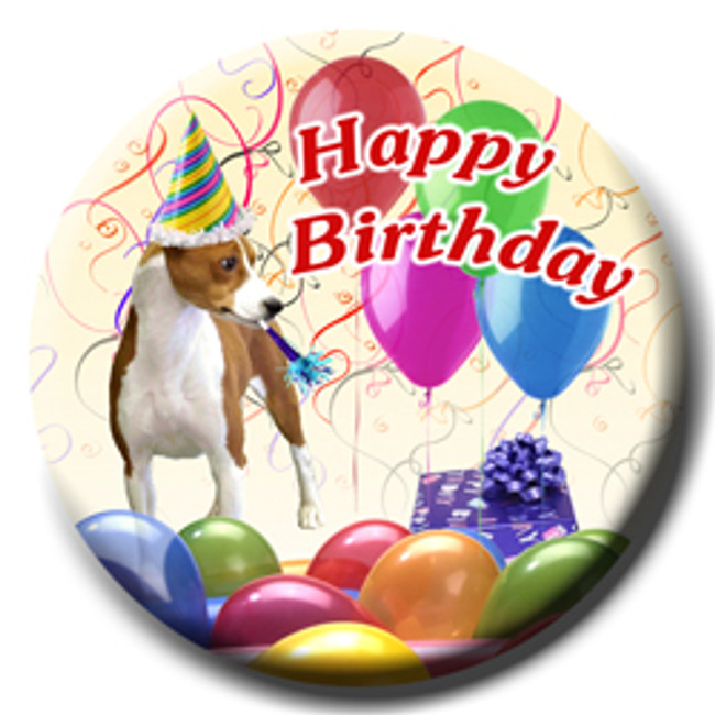 Basenji Happy Birthday Pin Badge No 1