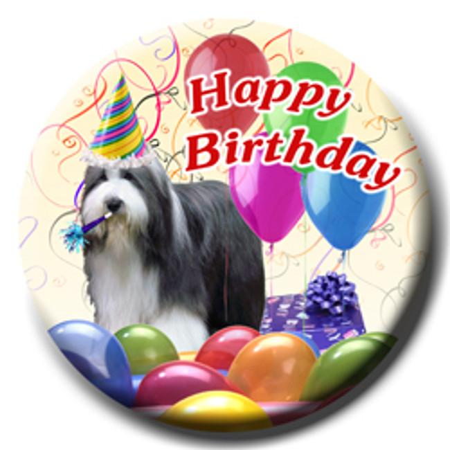 Bearded Collie Happy Birthday Pin Badge