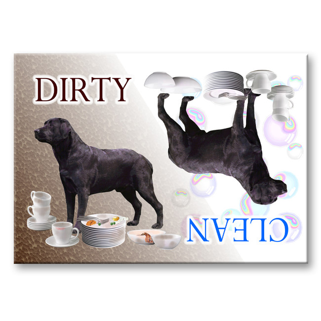 Labrador Retriever Clean Dirty Dishwasher Magnet (Black)