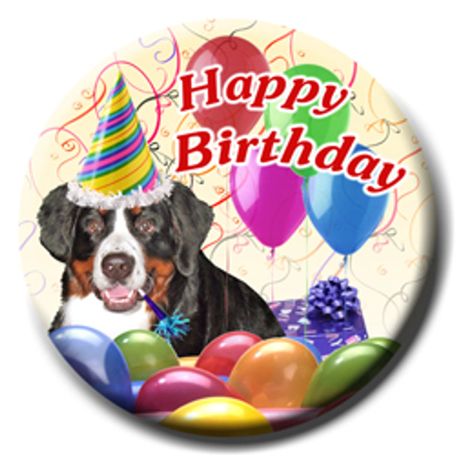 Bernese Mountain Dog Happy Birthday Pin Badge