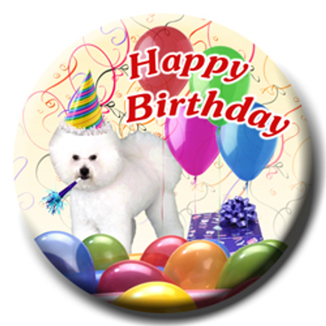 Bichon Frise Happy Birthday Pin Badge