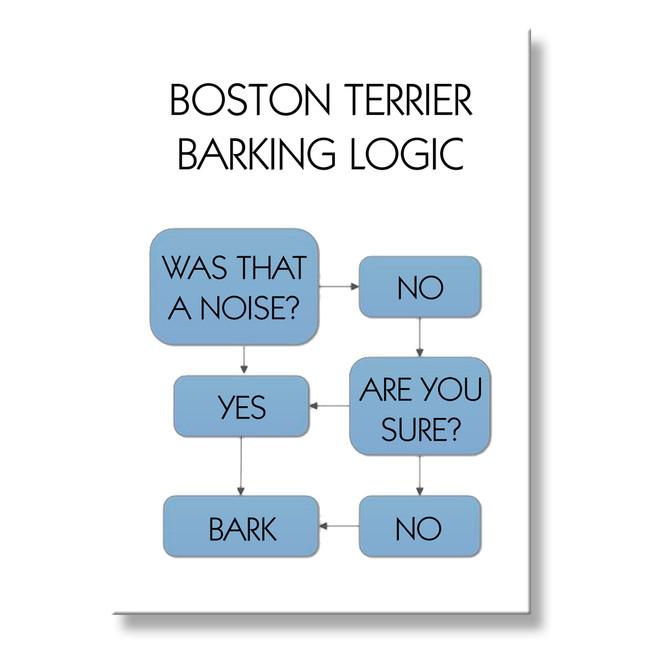 Boston Terrier Barking Logic Fridge Magnet