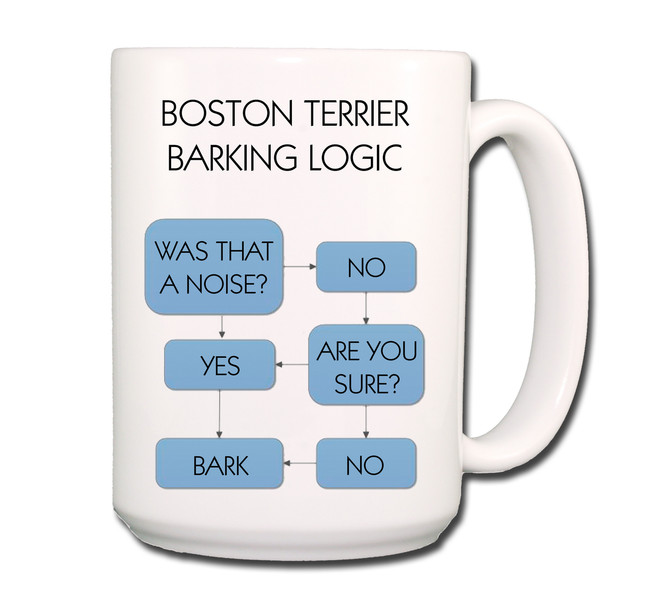 Boston Terrier Barking Logic Coffee Tea Mug 15 oz