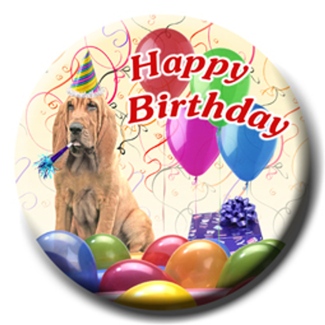 Bloodhound Happy Birthday Pin Badge