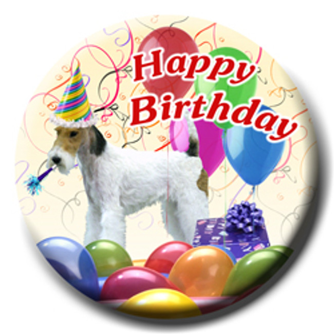 Wire Fox Terrier Happy Birthday Pin Badge