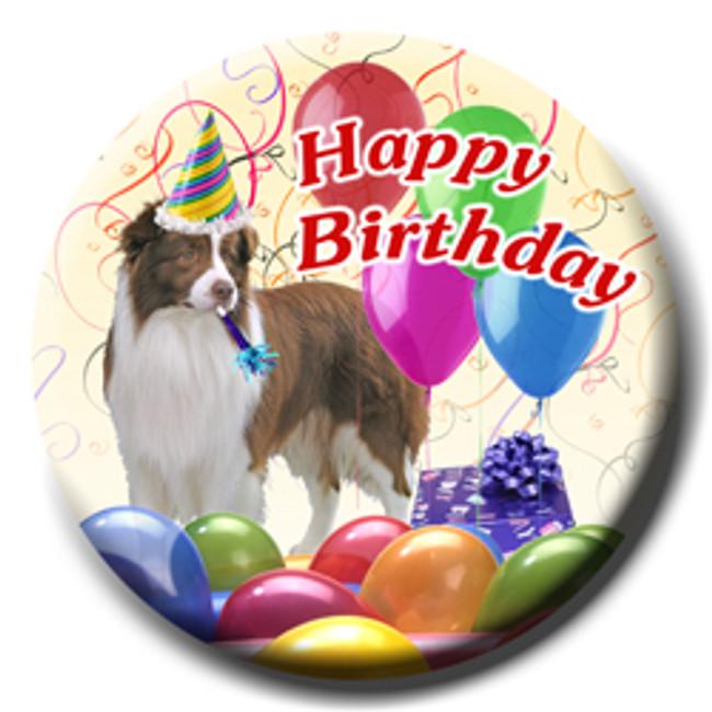 Border Collie Happy Birthday Pin Badge No 2