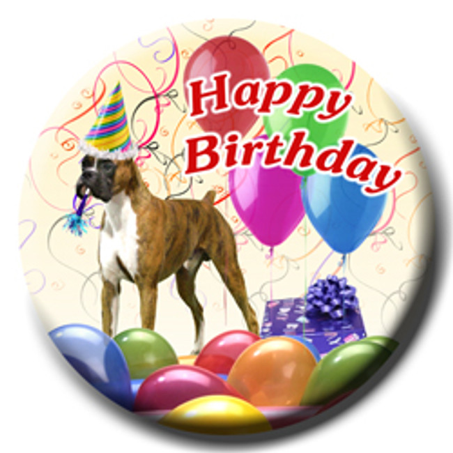 Boxer Happy Birthday Pin Badge