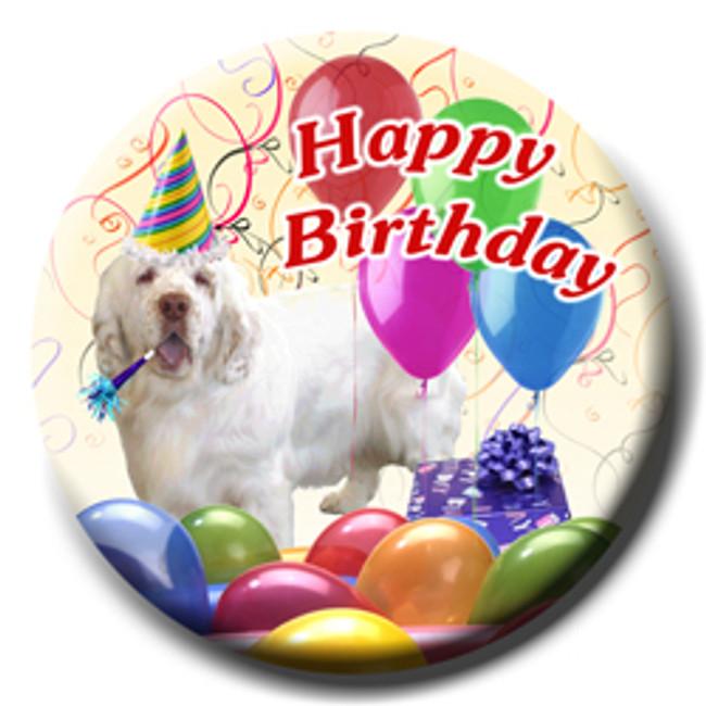 Clumber Spaniel Happy Birthday Pin Badge