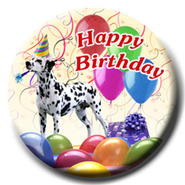 Dalmatian Happy Birthday Pin Badge