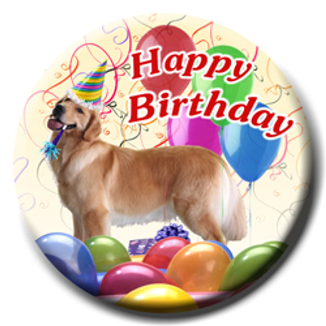 Golden Retriever Happy Birthday Pin Badge