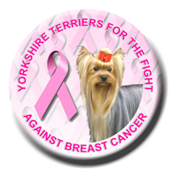 Yorkshire Terrier Breast Cancer Support Pin Badge