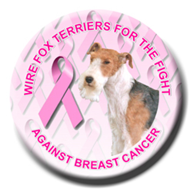 Wire Fox Terrier Breast Cancer Support Pin Badge