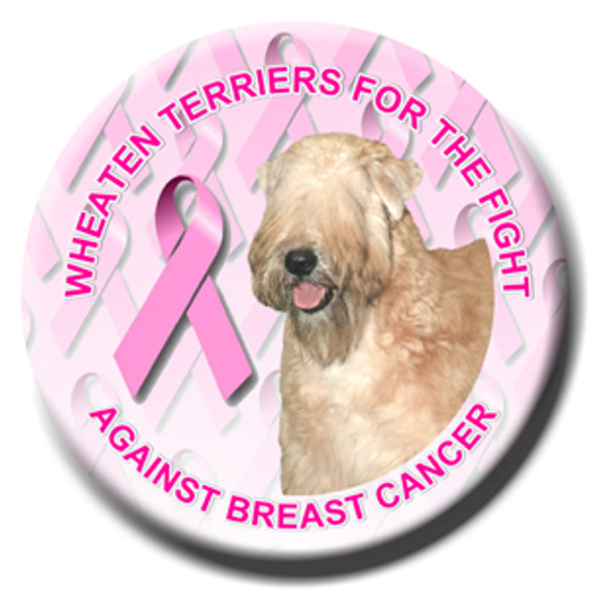 Wheaten Terrier Breast Cancer Support Pin Badge