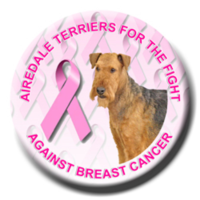 Airedale Terrier Breast Cancer Support Pin Badge