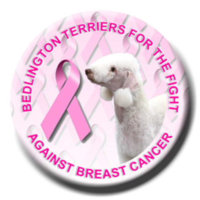Bedlington Terrier Breast Cancer Support Pin Badge