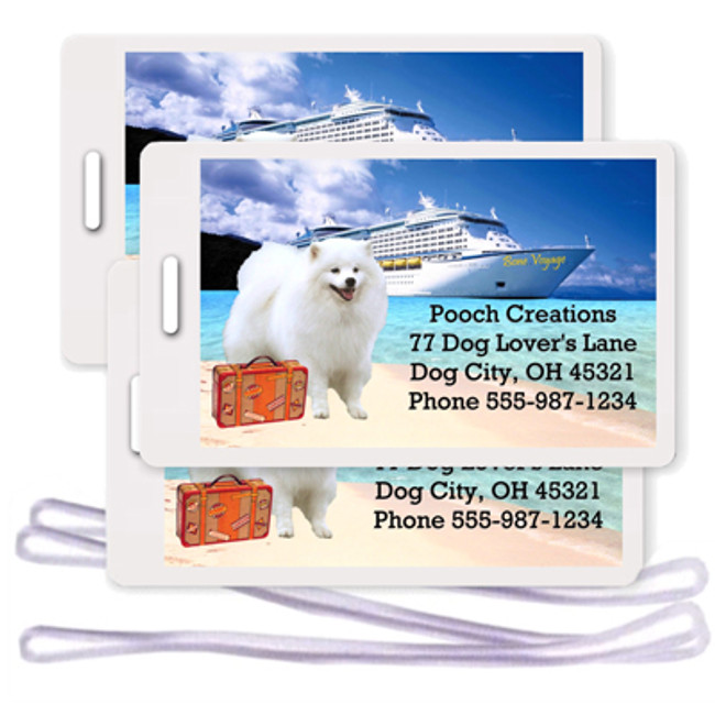 American Eskimo Dog Set of 3 Personalized Cruise Ship Luggage Tags