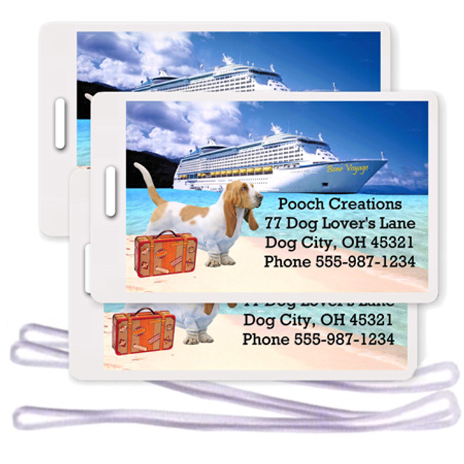 Basset Hound Set of 3 Personalized Cruise Ship Luggage Tags