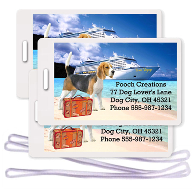 Beagle Set of 3 Personalized Cruise Ship Luggage Tags