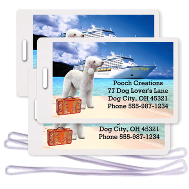 Bedlington Terrier Set of 3 Personalized Cruise Ship Luggage Tags
