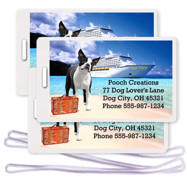 Boston Terrier Set of 3 Personalized Cruise Ship Luggage Tags