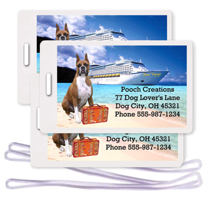 Boxer Set of 3 Personalized Cruise Ship Luggage Tags